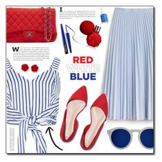 """""""red white blue"""" by abha-garg ❤ liked on Polyvore featuring WithChic, Lacoste, Chanel, Illesteva, MAKE UP FOR EVER, Essie, 4thjuly, polyvoreeditorial, polyvorecontest and redbluewhite"""