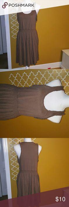 Old Navy Tan Dress Tan Cotton Sleveless Dress Old Navy Dresses Midi