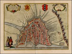 This city map oriented to the southwest is an update of the view of Amsterdam dating from the first edition, which was first printed in 1572.   The updated map It became necessary because of the drastic changes that had taken place since then. In the course of the city's rapid increase in prosperity, resulting not least from the East Indian trade, it was also considerably extended in size. - Barry Lawrence Ruderman Antique Maps Inc.