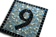 Mosaic Address Sign  1 House Number by GreenStreetMosaics on Etsy, $60.00