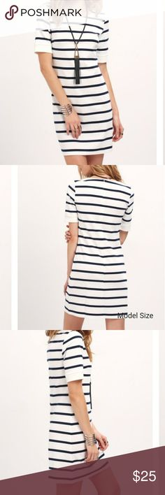 Breton Stripe T Shirt Dress Cute casual dress, perfect for summer. Fabric has some stretch Bust 88cm Length 88cm Sleeve length 26.5cm  Offers welcome! Check out the rest of my closet and bundle with shoes and accessories! Stay stylish ;) Dresses Mini