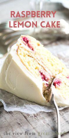Raspberry Lemon Cakes, Lemon Tea Cake, Raspberry Frosting, Raspberry Desserts, Fresh Raspberry Recipes, Strawberry Cakes, Lemon Desserts, Raspberry Cake Recipe Easy, Desserts With Raspberries