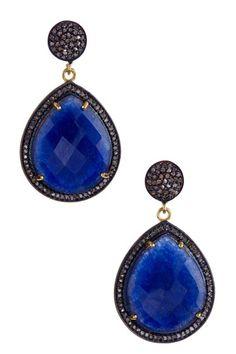 Sapphire & Champagne Diamond Teardrop Earrings by Jewelry Blowout on @HauteLook