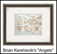 """Angels,"" by Brian Kershisnik, a lovely piece, is the sole artwork in the master bedroom. #angels_brian_kershisnik, #decorate_dreamhouse_carmel_ca,"