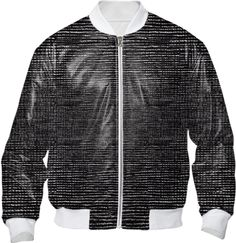Black White Mix Plain Weave Pattern On Trend Bomber Jacket from Print All Over Me