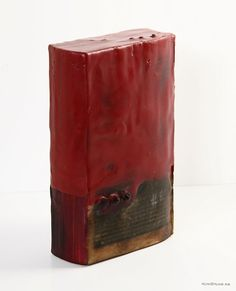 """Kim Bruce, 2011 Wax Seal (back view) Encaustic and found objects 7"""" x 4"""" x 1.5"""" Available at Dada"""