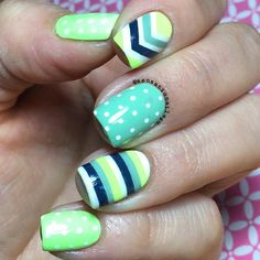 Chevron Strip Polka Dot nails