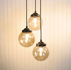 Biddeford III  Smoked CHANDELIER Trio Light by LampGoods on Etsy, $190.00