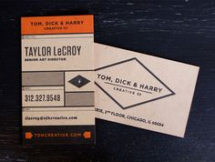 Mike McQuade created this beautiful new identity for creative agency Tom, Dick & Harry, who wanted an unpretentious industrial look and feel. The logo and branding materials use typefaces, shap… Business Branding, Business Card Design, Creative Business, Business Cards, Business Marketing, Graphic Design Branding, Identity Design, Logo Design, Collateral Design