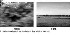 If you take a picture from the train, avoid the bushes - 78 Photography Rules for Complete Idiots