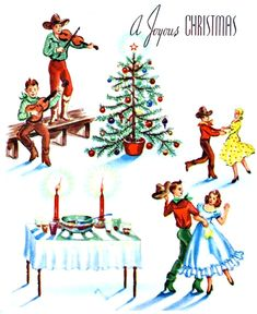 vintage Christmas cowboy, Western dance