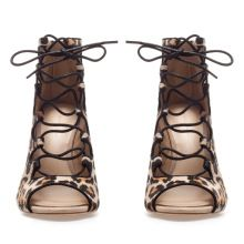 Afternoon craving… » ZARA LEOPARD LACE UP BOOT SANDALS