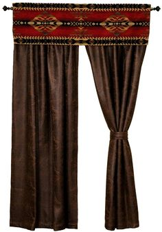 The window dressing for the Gallop bed ensemble set features a southwest upgrade fabric valance made of the matching Gallop fabric and a pair of rod pocket drapery panels made of Colt Coffee Faux Leather with matching tiebacks.  However, these drapes will work well with any Southwestern or Western themed room.  American made to order by Wooded River.