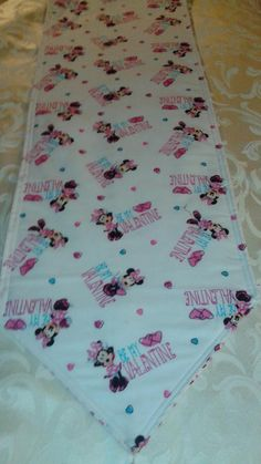 Minnie Mouse Valentines Day Table Runner 72x14 Reversible and Machine Washable by freemansalesgirl on Etsy
