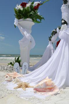 Hochzeit mit Seesterne und Muscheln