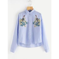 Symmetric Flower Bunch Embroidered Pinstripe Shirt (€20) ❤ liked on Polyvore featuring tops, blouses, shirts, blue, blue blouse, blue shirt, embroidered blouse, blue top and blossom shirt