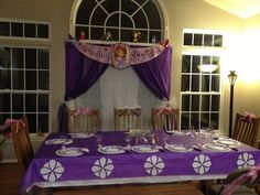 Sofia the First birthday party decorations- Curtains pulled back with Banner- Purple Tablecloth over white. Purple damask plates on large white doilies. Sofia The First Cake, Sofia The First Birthday Party, First Birthday Party Decorations, 6th Birthday Parties, Birthday Fun, Birthday Ideas, Birthday Table, Birthday Celebrations, Birthday Cakes