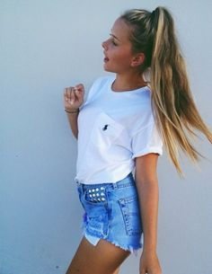 High pony, Ralph Lauren white tee  and studded denim shorts. Image via Beauty High.