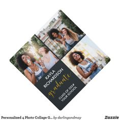 Graduation Theme, Graduation Cap Toppers, Graduation Party Supplies, Graduation Photos, Graduation Invitations, Graduation Gifts, 3 Photo Collage, Square Photos, Gold Glitter