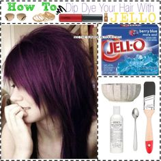 How To Dip Dye Your Hair With Jello!, created by fuzzychick on Polyvore