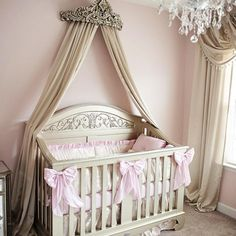 The Chelsea Lifetime crib looks stunning in the morning light and that wall crown is everything!