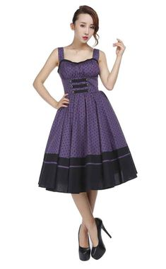 Chic Star Purple Polka Dot Summer Dress    Another gorgeous vintage inspired Summer dress from Chic Star! This beautiful purple dress features an all over black polka dot design, with black strap and g...