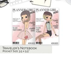 POCKET TN Planner Girl Cover Magazine Dashboard, Fashion Print TN, Traveler's Notebook Printable, Field Notes, Small, pdf, Bullet, Download