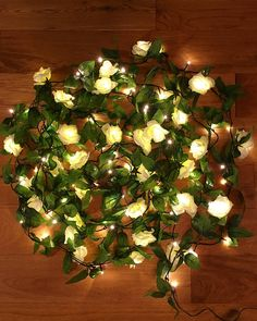 100 LED Rose ivy fairy light garland, ivy garland, rose garland, rose fairy lights, wedding fairy lights. Indoor and outdoor versions