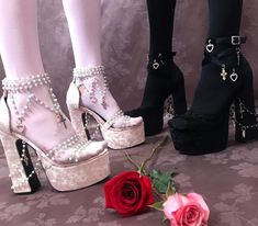 Free, fast shipping on Holy Revelation Platform Heels at Dolls Kill, an online boutique for kawaii fashion. Shop Sugar Thrillz clothing, shoes, & accessories here. Black And Gold Shoes, White High Heels, Pretty Shoes, Cute Shoes, Me Too Shoes, Mode Emo, Mens Work Shoes, Catty Noir, Kawaii Shoes