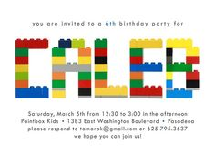Custom Birthday Party Invitation  Building Blocks  by onalimb, $18.00