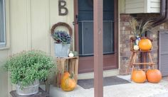 a simple budget friendly fall porch. Ideas on how to save money, where to get inspiration and more