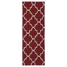Indoor/ Outdoor Handmade Getaway Red Tiles Rug (2'0 x 6'0)