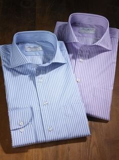 Pencil Stripe Twill Cutaway Collar Shirts