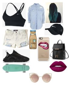 """""""Untitled #485"""" by okunicorn ❤ liked on Polyvore featuring Hollister Co., Casetify, NIKE, MANGO, Topshop and Lime Crime"""