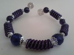 Purple wire wrapped beaded bangle