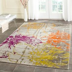 Safavieh Handmade Elegance Grey/ Orange New Zealand Wool Rug (6' Square) | Overstock.com Shopping - The Best Deals on Round/Oval/Square