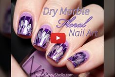 Dry Marble Floral Nail Art - No Water marble manicure with a video tutorial | Sassy Shelly