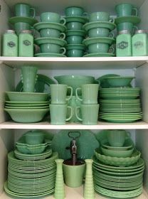 """In the 1940s and 1950s, jadeite - a stain- and heat-resistant, milky-green glassware - was quite common and sold in hardware stores and five-and-tens. Sometimes a piece of jadeite would be included in a bag of flour or a box of oatmeal as an inducement to the consumer to buy the rest of the set. Today, jadeite is a popular - and valuable - collectible. A ball jug that once sold for $5 could sell for as much as $5,000 today."""