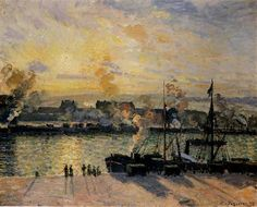 Sunset, The Port of Rouen (Steamboats) - Camille Pissarro