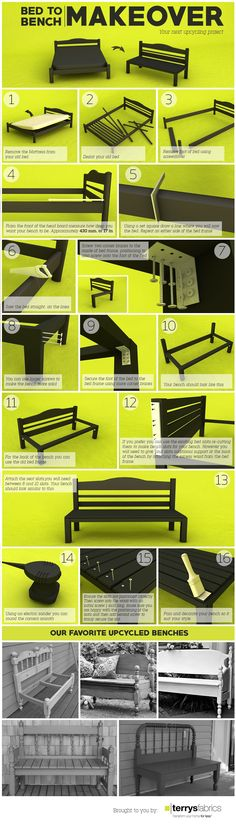 DIY Simple Instructions for Making a Bed into a Bench - www.bigdiyideas.c... 16 Easy to Follow Steps on How to Make a Bed into a Bench Here is a simple upcycling project for that old bed frame and headboard you don't use; which you can now turn into a fabulous bench for you and your guests to use everyday. (adsbygoogle = window.adsbygoogle ||...