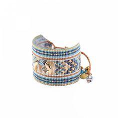 Woman pearl Crescent blue bracelet