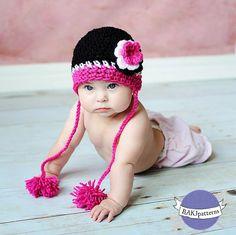 Ravelry: Glamour Girl Beanie pattern by RAKJpatterns/Kristi Simpson Crochet Cap, Crochet Baby Hats, Crochet Beanie, Crochet For Kids, Baby Knitting, Free Crochet, Knitted Hats, Baby Shop, Crochet Crafts