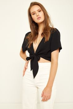 PERFECT STRANGER Wrapped Top Black