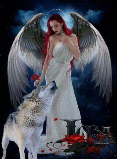 mercedes thompson fan art & mercedes thompson _ mercedes thompson fan art _ mercedes thompson and adam Gothic Fantasy Art, Fantasy Wolf, Fantasy Art Women, Fantasy Girl, Wolf Images, Wolf Pictures, Angel Pictures, Angel Artwork, Wolf Artwork