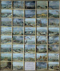 """Hoy se celebra el """"Día de la Tierra"""", así mostraba Jan van Kessel el Viejo, en 1660, la fauna de """"Las cuatro partes del Mundo""""  La representación de los continentes entonces conocidos: Europa, Asia, África y América, fue una temática que alcanzó gran popularidad, ya que se trataba de un asunto totalmente acorde con el interés científico de la época.  Cabe pensar que fueran encargadas para formar parte de los llamados gabinetes de las maravillas (Wunderkammer), por entonces de moda."""
