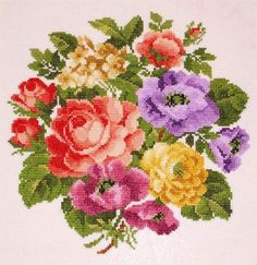 Ellen Maurer-Stroh Roses in their Splendour - Cross Stitch Pattern. Stitch on the fabric of your choice using DMC floss. Stitch count: x Counted Cross Stitch Patterns, Cross Stitch Charts, Cross Stitch Designs, Cross Stitch Embroidery, Cross Stitch Rose, Cross Stitch Flowers, Embroidery Store, Floral Bouquets, Beaded Flowers