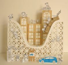 """""""Ford Fiesta in the City""""  Paper cut diorama 17 x 16 x 12""""  Work specially made for the Ford Québec campaign #Fiesta24h"""
