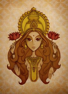Lakshmi by Juliana Fusco, via Flickr Kali Mata, Indiana, Simple Portrait, Aesthetic Painting, Indian Gods, Diy Arts And Crafts, Cartoon Kids, Religious Art, Cartoon Wallpaper