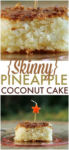Skinny Pineapple Coconut Cake – four ingredients, one bowl, one spoon and you're on your way to this delicious cake! | www.persnicketyplates.com