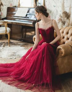 Burgundy tulle long prom dress, burgundy tulle evening dress,prom dress - 2020 New Prom Dresses Fashion - Fashion Of The Year Muslim Evening Dresses, Evening Gowns, Tulle Prom Dress, Prom Dresses, Formal Dresses, The Dress, Dress For You, Style Haute Couture, Beautiful Gowns